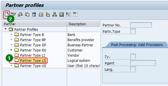 Create a new Logical System in we20 transaction. Select the Partner profile type as LS and click create.