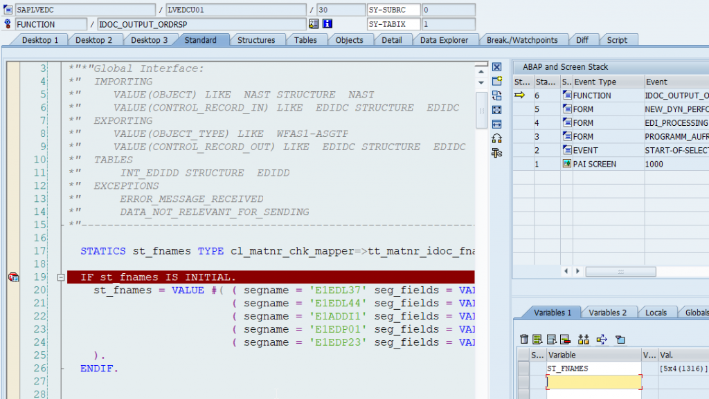 debug mode of the ABAP FM that creates output iDocs