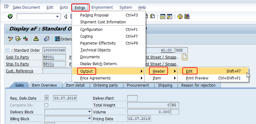 Go to sales order header outputs from va03/va02 extras menu in SAP