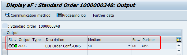 Sales order output successfully processed and output iDoc processed.