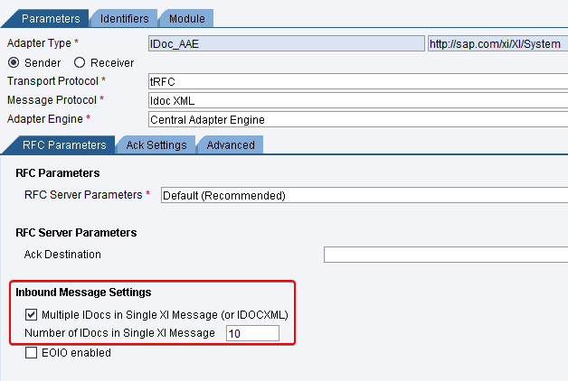 "Sender iDoc_AAE adapter configuration for iDoc Collection. Inbound message settings ""Multiple iDocs in Single XI message"" configured. transport protocol tRFC, message protocol iDoc XML and adapter type iDoc_aae"