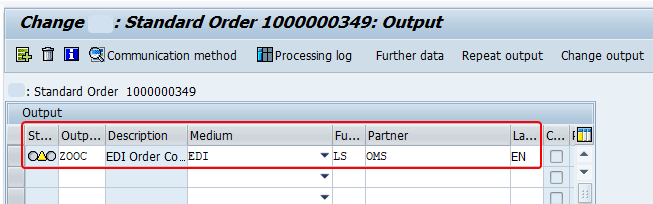 issue a new output from sales order header manually. output is yellow (ready to be processed) status