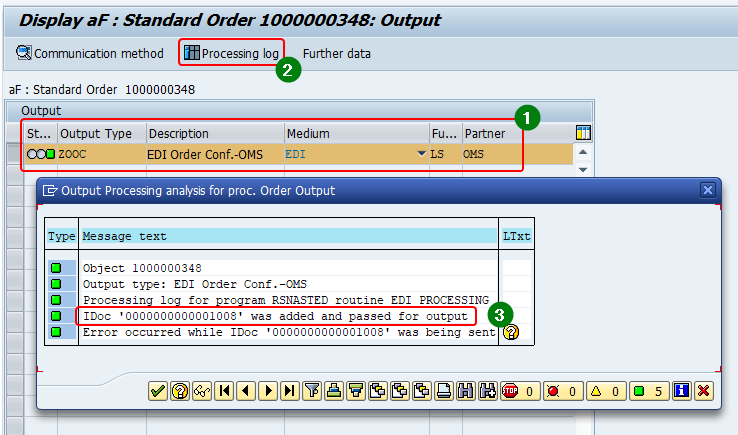 Processing log of generated output from sales order header showing the doc number created. Select the output and click processing log. Pop up window shoes the processing log