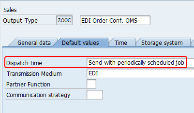 "Change the dispatch time of the output to ""Send with Periodically Scheduled Job"""