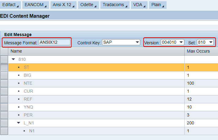 Definition of EDI messages should be available in EDI content manager of B2B cockpit. ANSI X12 810 message version 004010 available in EDI content manager.