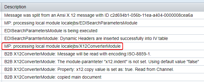 EDI message transformed to XML by ANSI X12 Converter Module in message log