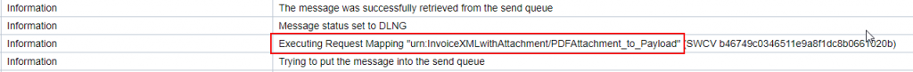 attachment processing Java Mapping executed and showing in the message log