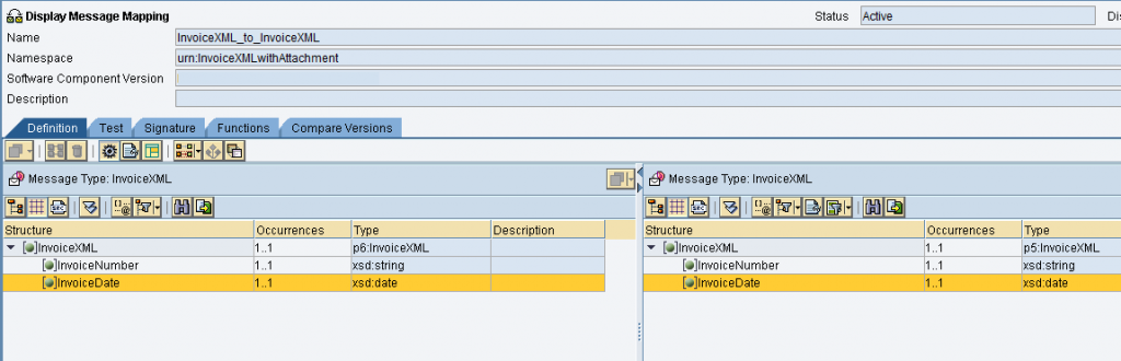 Graphical message mapping program for invoice XML (main payload).