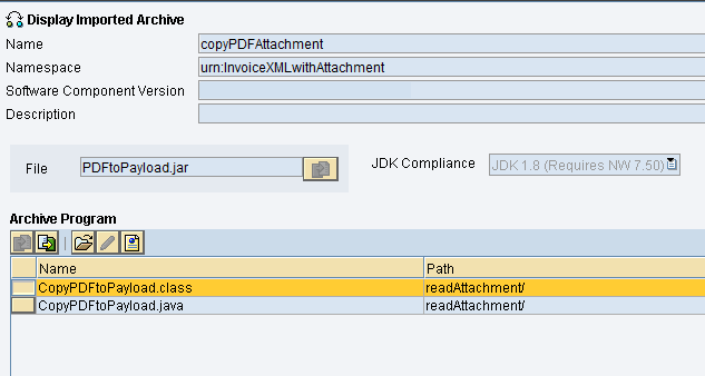 Imported archive or the java mapping created in NWDS imported to ESR. Jar file imported as a imported archive