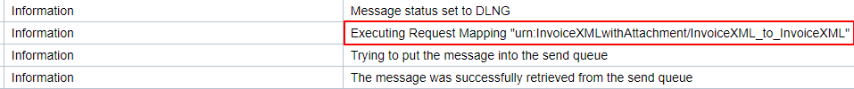 Message Mapping program of the main payload executed. Showing in the message log of the message monitor