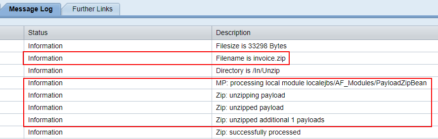 adapter module payloadzipbean unzip the zipped content. shown in the message log of the message monitor