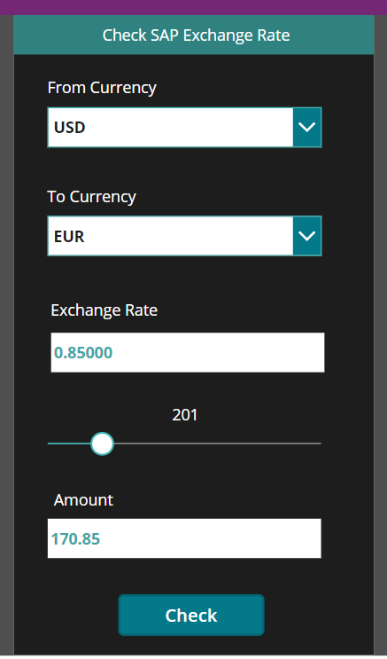 User interface of the SAP exchange rate checking power app.