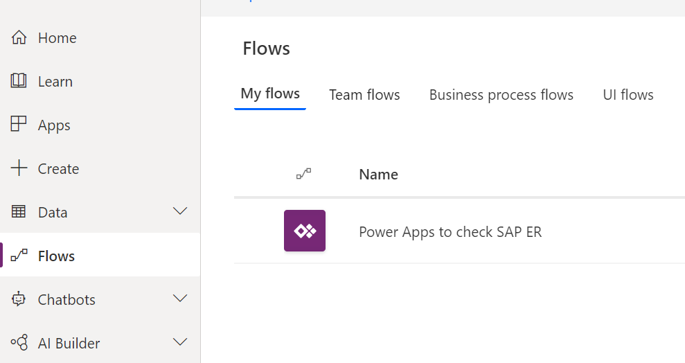 Access flows of power apps from left hand side menu