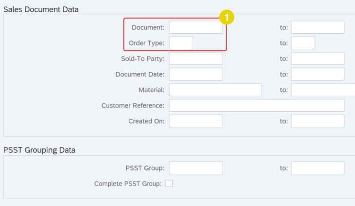 selection screen parameters of report program SD_SALES_DOCUMENT_VIEW that we will use for custom function
