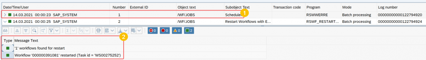 view of application log transaction SLG1. Screen showing log header and multiple problem class messages in SAP S4 HANA.