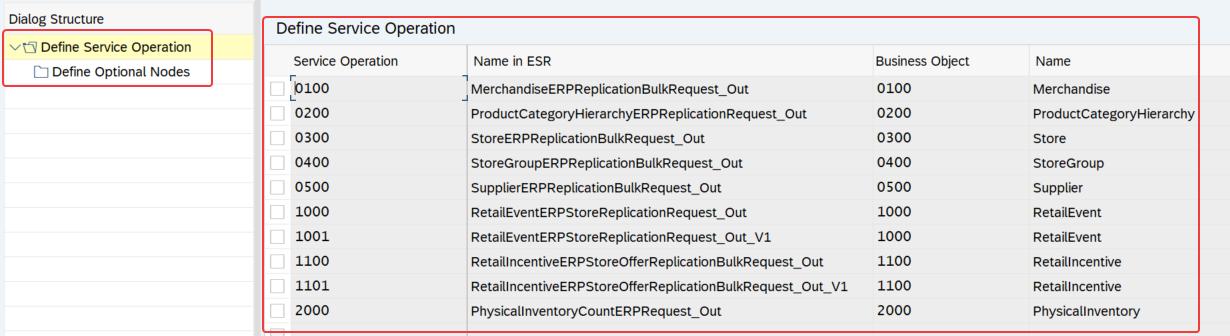 List of service operations for POS integration shown in WESIMG of S4 HANA