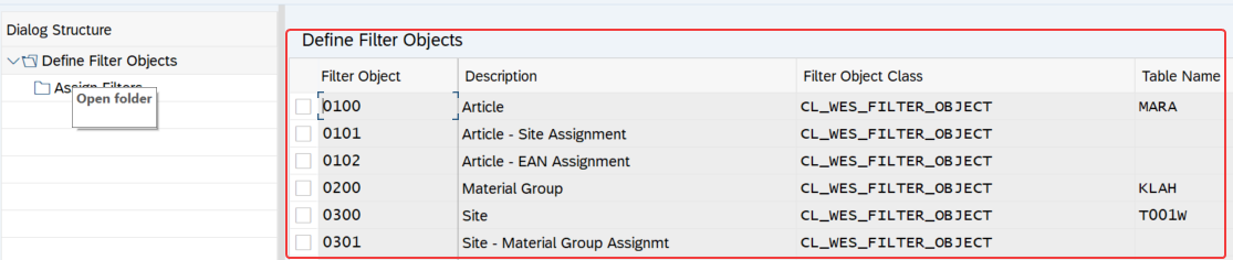 Configuration screen of WESIMG to define filter objects. List of filter objects shown.
