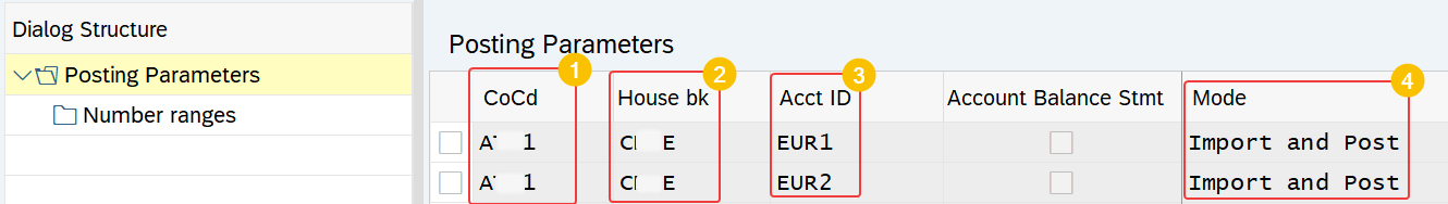 SAP configuration to define the behavior of EBS processing at company code, house bank and account ID level.
