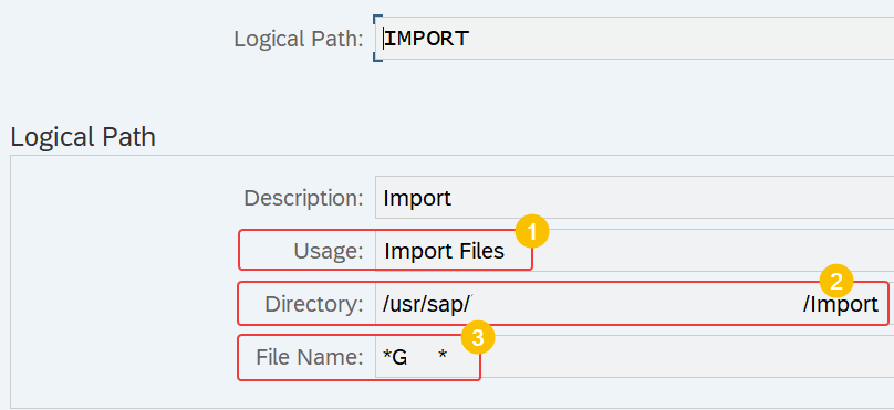 SAP SPRO configuration view to define usage, directory and file name of logical path - FEB_FILE_HANDLING